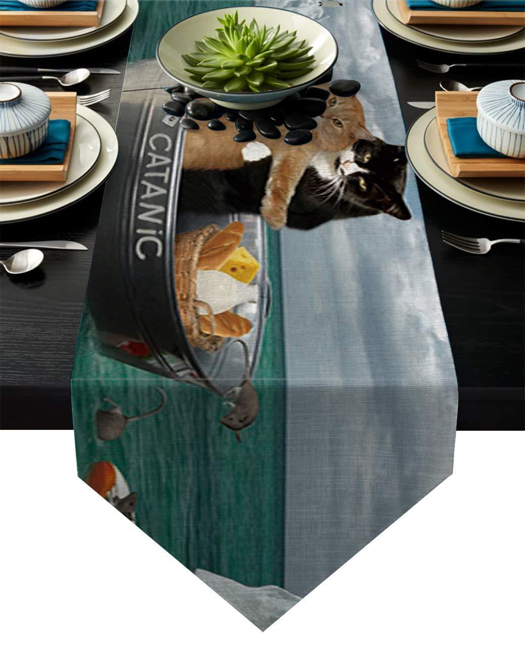 リネン麻布テーブルランナー ドレッサースカーフ ブラック&ホワイト キッチンテーブルランナー ディナーホリデーパーティー ウェディング イベントの装飾に 13 By 70 Inch 20181120-XGL-runnerSLEO01280ZQAAFAD 13 By 70 Inch Cat10fad8863 B07KQ3PY5S