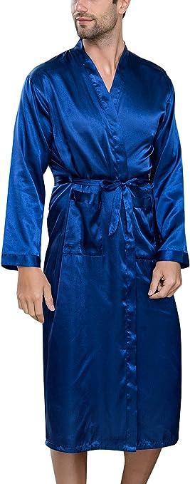 Vestaglia da Notte Kimono Raso Pigiama Sleepwear Lusso Robe Accappatoio Camicia da Notte da Uomo con Cintura e Tasche YAOMEI Accappatoio Vestaglie e kimonoper Uomo