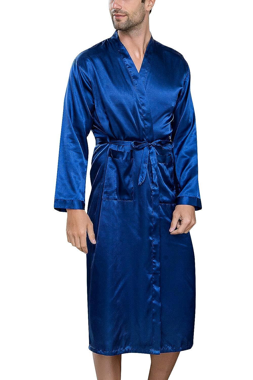 Lachi Herren Satin Kimono Schlafanzug Schlafmantel M/änner Schlafkleid Morgenmantel Nachtw/äsche Pyjamas Bademantel Nachthemd