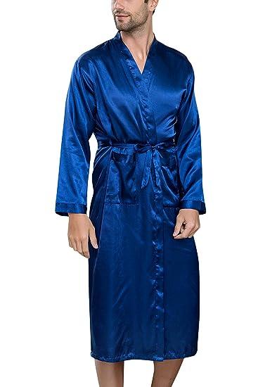 Yaomei Légères Satin Robes De Chambre Et Kimonos Peignoir Pour Homme Longues Ensemble De Pyjama Vêtement De Nuit Pyjama Robe De Chambre Peignoir De