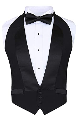 ca5748ab0743 Men's Classic Formal 100% Wool Black Backless Tuxedo Vest Includes Bow Tie  (Small -