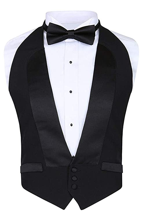 1950s Tuxedos and Men's Wedding Suits Mens Classic Formal 100% Wool Black Backless Tuxedo Vest Includes Bow Tie $51.99 AT vintagedancer.com