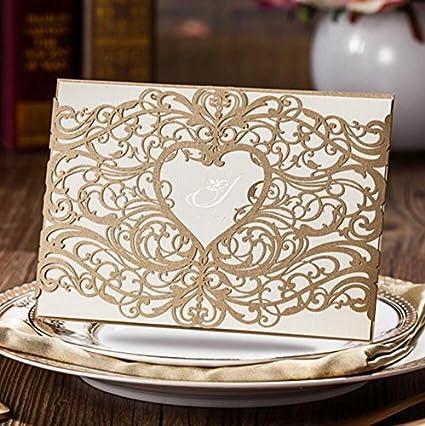 Jd boda oro Laser Cut tarjetas invitaciones Sets 50 piezas para Boda ...