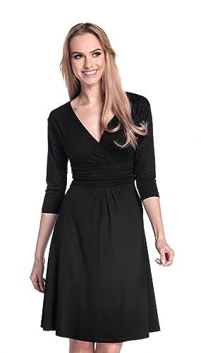 Glamour Empire Donna Vestito Svasato Piegoline Scollo V Portafoglio. 282A