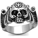 ISADY - Linus - Men's Ring - stainless steel - Email Black - Skull