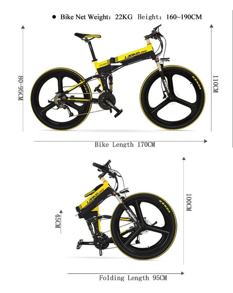 LANKELEISI - Bicicleta Eléctrica Plegable (26 Pulgadas, 240 W, 48 V, 10 Ah, Shimano, 27 velocidades, Suspensión Completa, MTB, Bicicleta de Montaña con ...