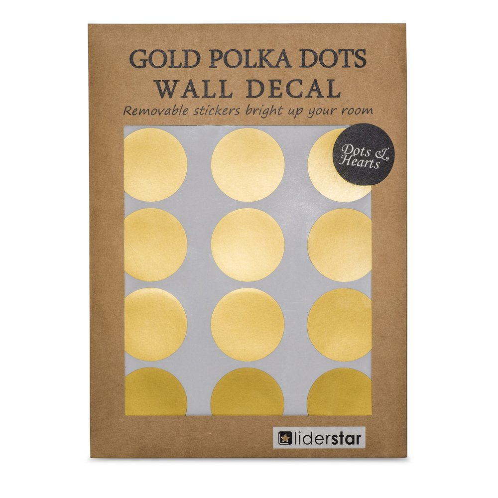 LIDERSTAR Gold Wall Decal Dots (218 Decals Including Free 8 Hearts),Removable Gold Wall Decor -Window Decals 2'' Round Circle with Gift Box Stickers for Kids Room,Nursery Room