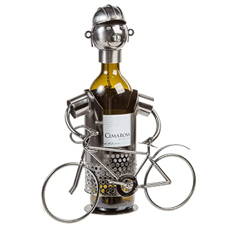 Contemporary Cyclist Metal Wine Bottle Holder Kitchen Table Ornament