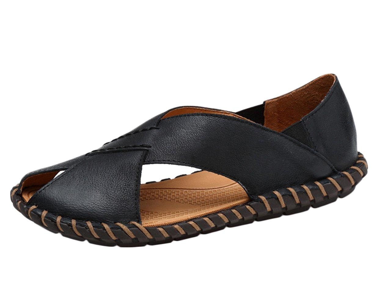 Icegrey - Sandalias de vestir de Piel Lisa para hombre 45 EU|negro