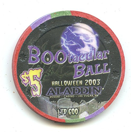 $5 Aladdin Halloween 2003 BOOtaculr Ball Old Obsolete Las Vegas Nevada Casino Chip Uncirculated Collectors Condition Chip Real Live chip ()