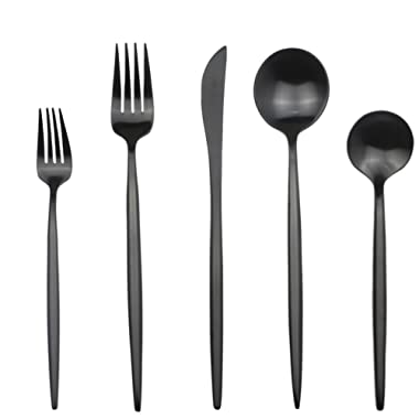 JANKNG 20-Pieces Luxury Black 18/10 Stainless Steel Flatware Set, Matte Finsh, Service for 4