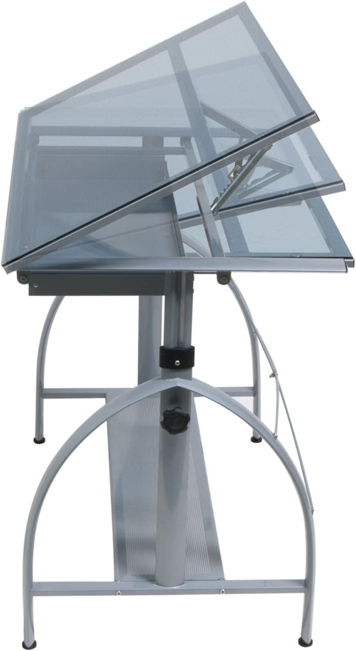 Offex Avanta Drafting Table Silver Blue Glass