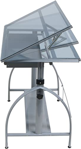 Offex Avanta Drafting Table Silver Blue Gla
