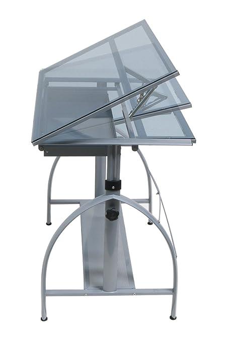 Offex Avanta Drafting Table Silver/Blue Glass