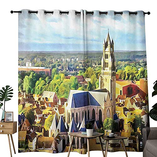 (duommhome Medieval Decor Collection Perforated Curtain Aerial Photo of Old Medieval Church and Gothic Town Middle Age Renaissance Europe Building Beautiful and Elegant W96 xL72 Multi)