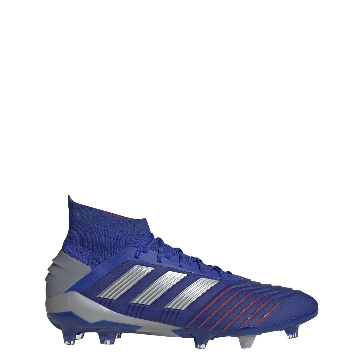 Bold bluee   Silver Met   Active Red Adidas Mens Predator 19.1 FG Soccer