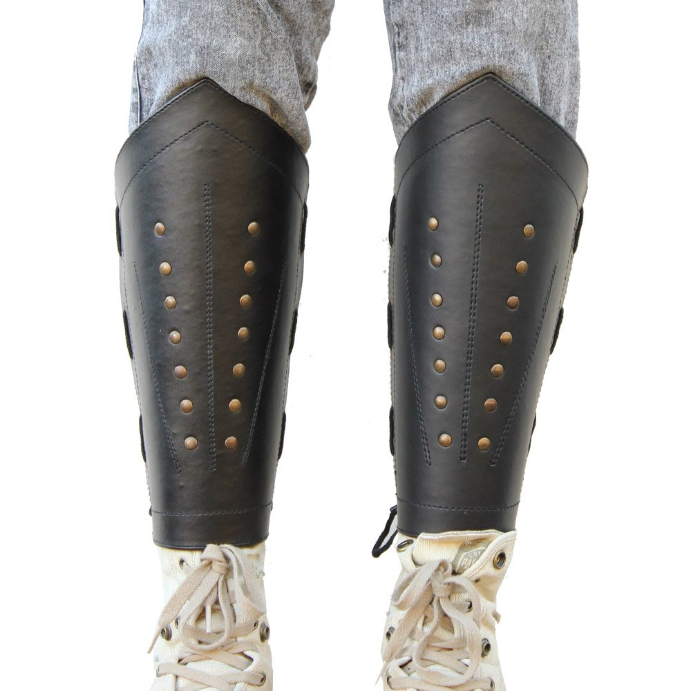 Black Studded Leather Laced Ranger Greave Leg Guards