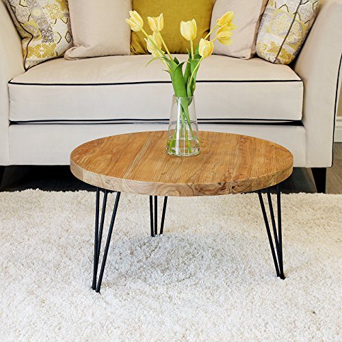 WELLAND Rustic Round Old Elm Wooden Coffee Table (Round Coffee Table Small)