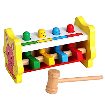 Amazoncom Wooden Toys Pounding Bench Wood Mallet Game For Baby