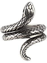 Beauty7 Adjustable Gothic Punk Rock Retro Style Snake Venom Coil Open Cocktail Ring Men
