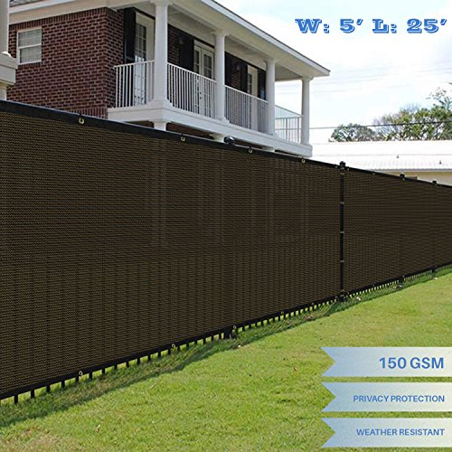 E&K Sunrise 5' x 25' Brown Fence Privacy Screen, Commercial Outdoor Backyard Shade Windscreen Mesh Fabric 3 Years Warranty (Customized Set of 1