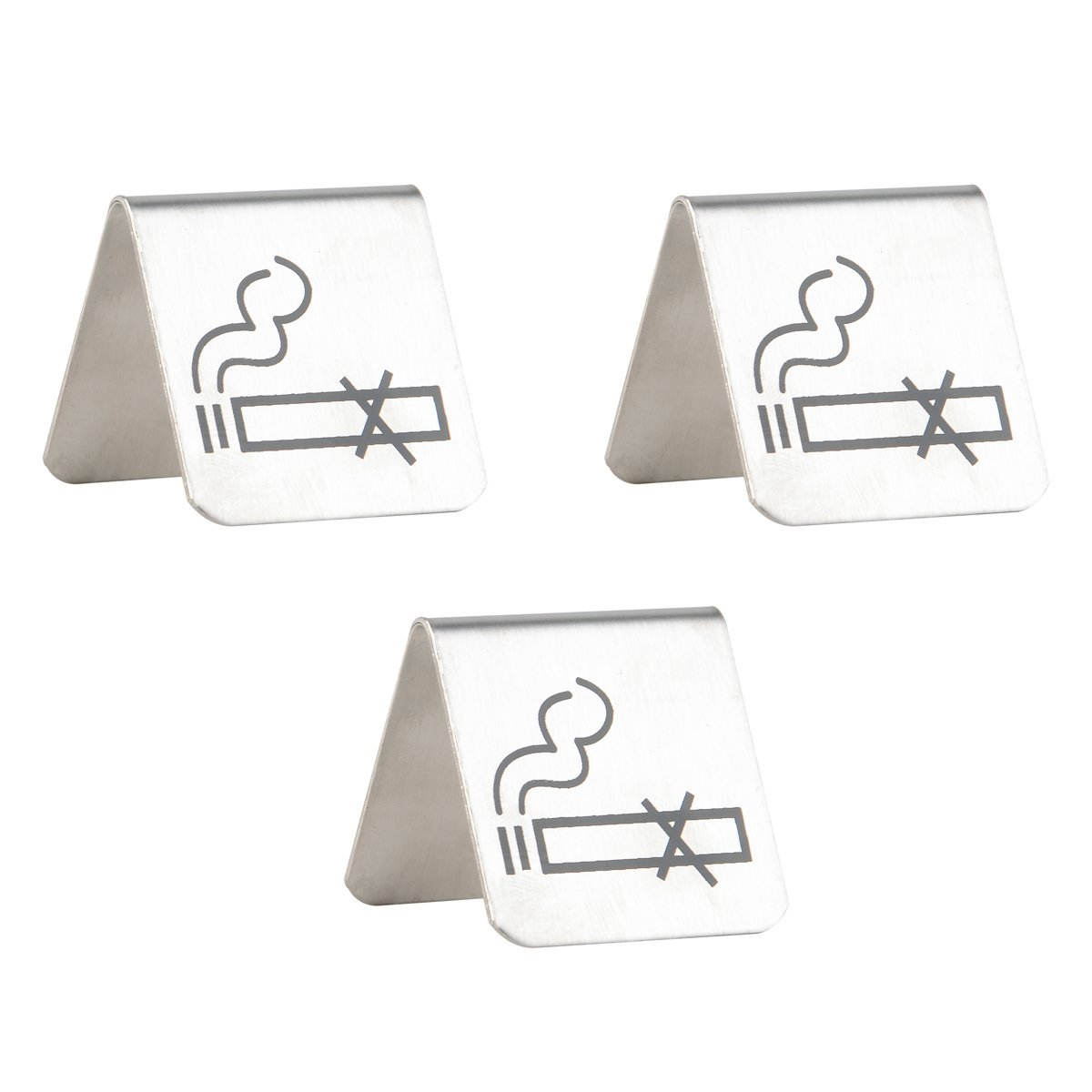 2 By 2 Inch Double Sided No Smoking Sign Set of 3 Brushed Stainless Steel Free Standing Table Top Tent Compliance Signs