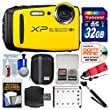 Fujifilm FinePix XP120 Shock & Waterproof Wi-Fi Digital Camera (Yellow) with 32GB Card + Case + Battery + Selfie Stick + Float Strap + Kit