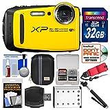 Fujifilm FinePix XP120 Shock & Waterproof Wi-Fi Digital Camera (Yellow) with 32GB Card + Case + Battery + Selfie Stick + Float Strap + Kit