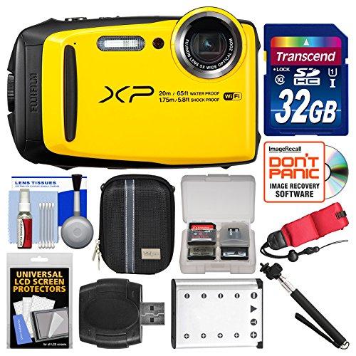Fujifilm FinePix XP120 Shock & Waterproof Wi-Fi Digital Camera (Yellow) with 32GB Card + Case + Battery + Selfie Stick + Float Strap + Kit by Fujifilm