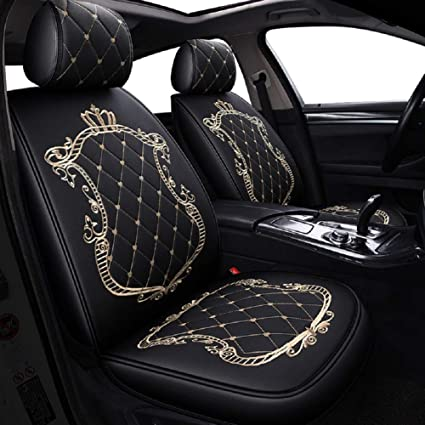 JOJOHON Crown Car Seat Covers Fully Surrounded Unisex SeatWinter Leather Seats