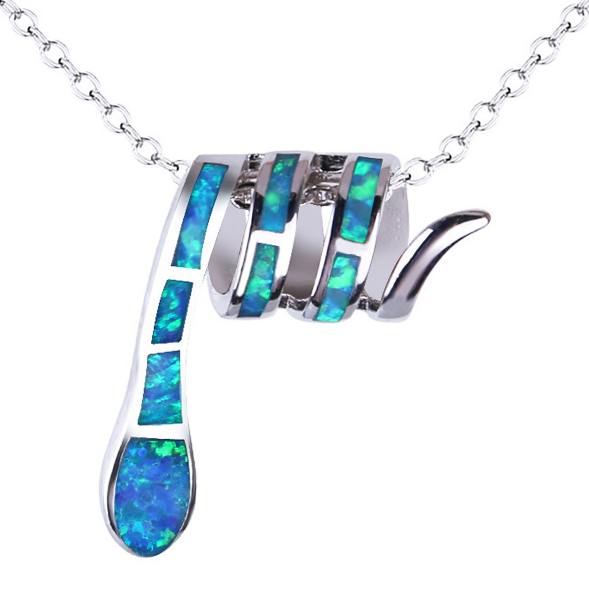 KELITCH Initial Choker Necklace Syuthetic Opal Extension Small Sideways Cross First Necklace (Blue)