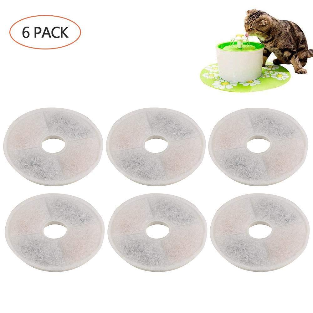 FOONEE filtres Compatible avec Catit Fleur Plume–6Packs pour Animal Domestique Fontaine à Eau de Remplacement de filtres hautement performant pour Chiens ou Chats