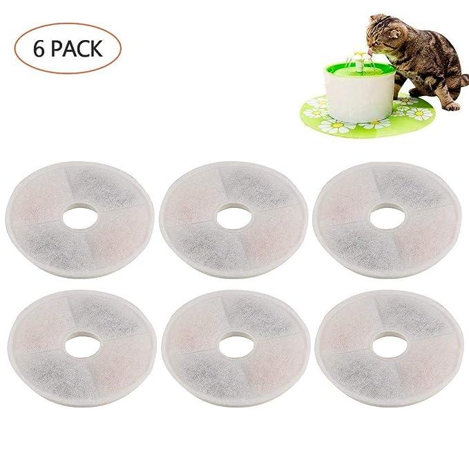 FOONEE Filtros compatibles con la Fuente de Flores de Catit - 6 Paquetes de filtros de Repuesto para Fuente de Agua para Mascotas de Alto Rendimiento para ...