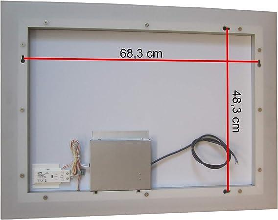 Lux-aqua Diseño Cuarto de baño Espejo con regulador de Intensidad, cálida y fría Color Blanco y Touch Interruptor 80 x 60 cm: Amazon.es: Hogar