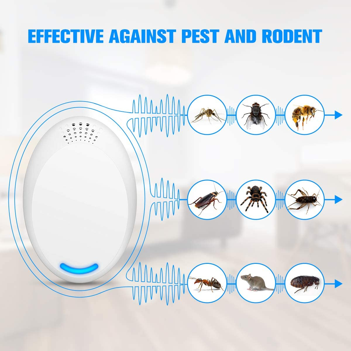 Anti Rat//mosquito//cockroach//fly//bee//spider//flea Ultrasonic Effective /& Safe to Pet /& Human Mayepoo Mouse Repeller Pest Repellent for All Pests /& Rodent white