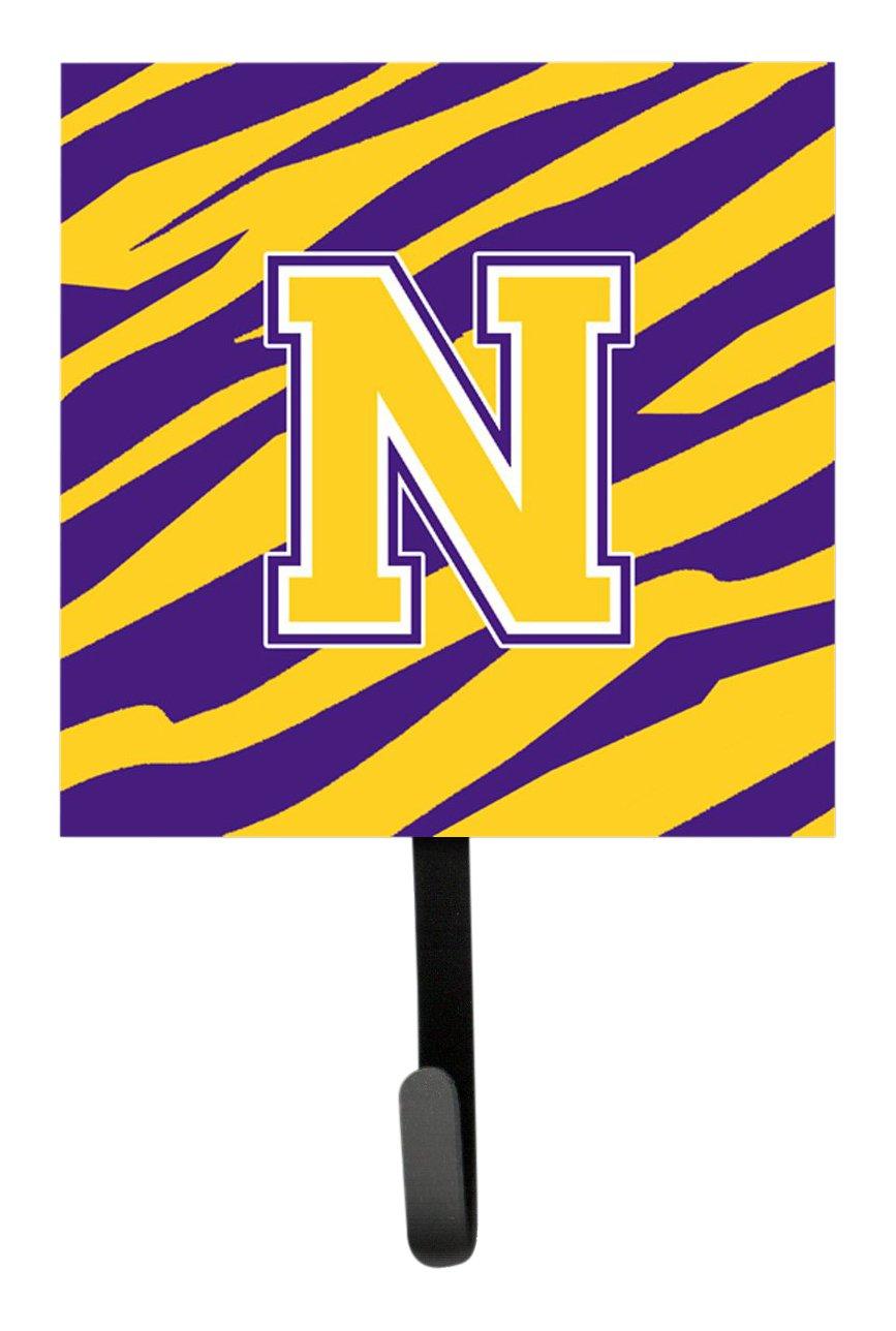 Carolines Treasures CJ1022-NSH4 Tiger Stripe-Purple Gold Leash Holder or Key Hook Initial N Small Multicolor