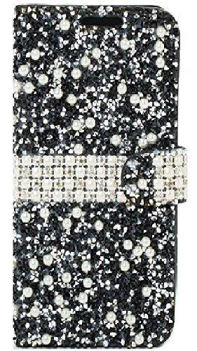 (Pearl Crystal Diamond Rhinestone Flip Wallet Diary Cover Case for LG K10 (Black))