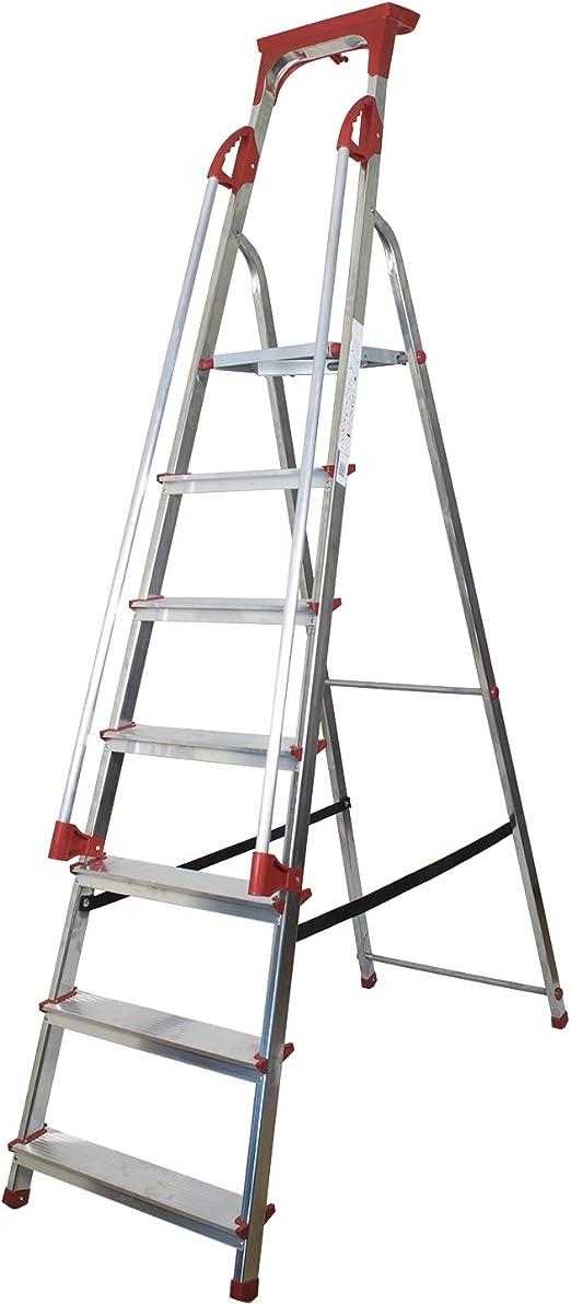 8 peldaños – plataforma de seguridad de aluminio escalera con pasamanos y bandeja para herramientas: Amazon.es: Bricolaje y herramientas