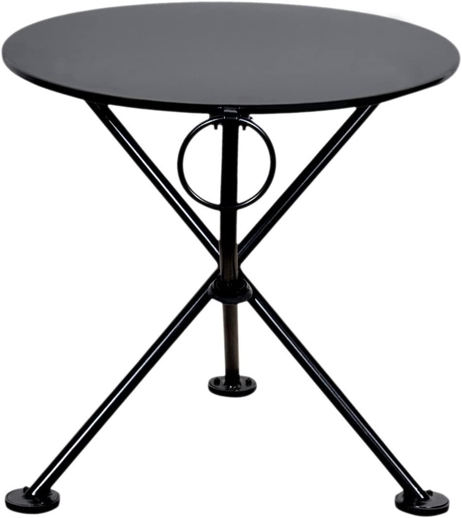 Mobel Designhaus French Caf Bistro 3-leg Folding Coffee Table, Jet Black Frame, 20 Round Metal Top