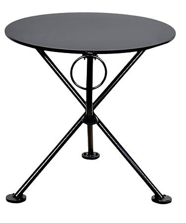 Mobel Designhaus French Café Bistro 3 Leg Folding Coffee Table, Jet Black  Frame,