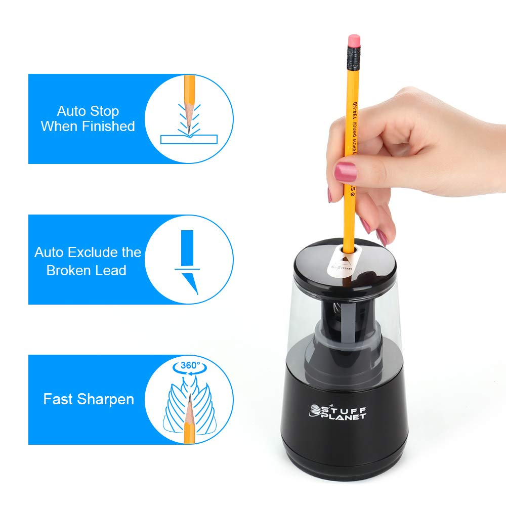 Stuff Planet Electric Pencil Sharpener,Heavy Duty Helical Blade,for School Classroom Office Home Kids Artists,AC Powered/USB/Battery Operated with Auto Stop Feature for No.2 and Colored Pencils(Black) by Stuff Planet (Image #2)