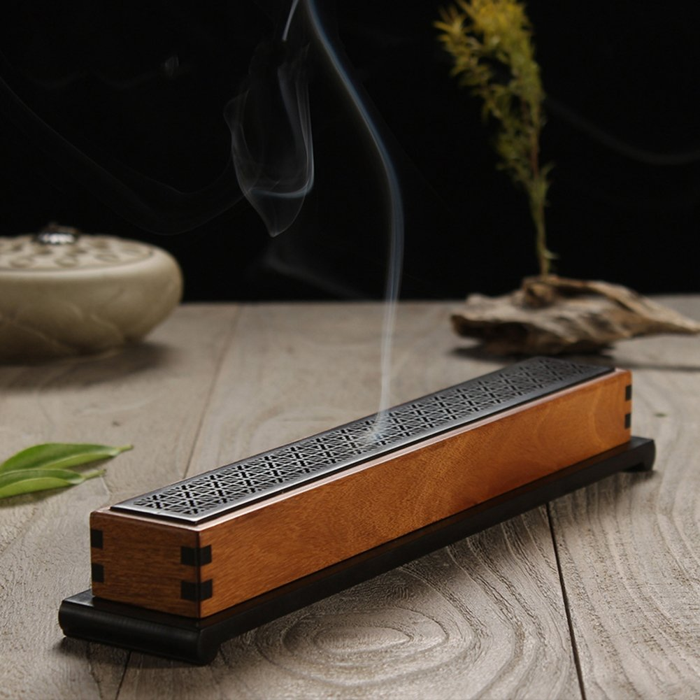 Retro wooden incense stick holder,Creative incense burner incense ash catcher tray bowl for yoga room or bedroom-H L10xW2.6xH2inch(25.5x6.5x5cm)