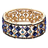 BriLove Women's Bohemian Boho Crystal Radiant Cut Round Beaded Stretch Bangle Bracelet Sapphire Color Gold-Tone