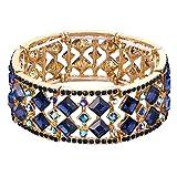 BriLove Women's Bohemian Boho Crystal Radiant Cut Round Beaded Stretch Bangle Bracelet Sapphire Color Gold-Tone