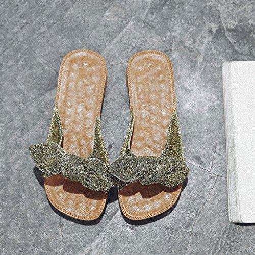 LIUXUEPIN Ropa Exterior Nueva Moda Zapatos Bow Beach Planos Con Sandalias Y Zapatillas Nuevas (Color : Oro, Tamaño : 35) Oro