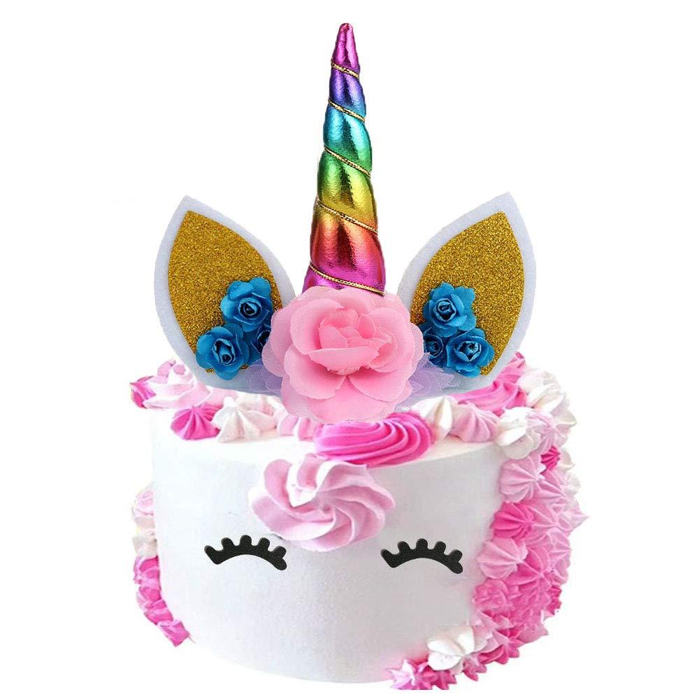 Unicorn Horn Cake Topper Kids Baby Shower Birthday Party Decor Cupcake Supplies