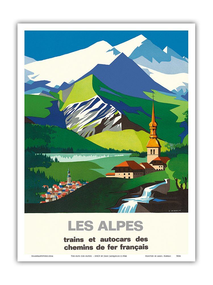 - Trains and Buses of French Railways Les Alpes SNCF French National Railway The Alps - Vintage Railroad Travel Poster by Jean Jacquelin c.1966 12in x 18in Master Art Print