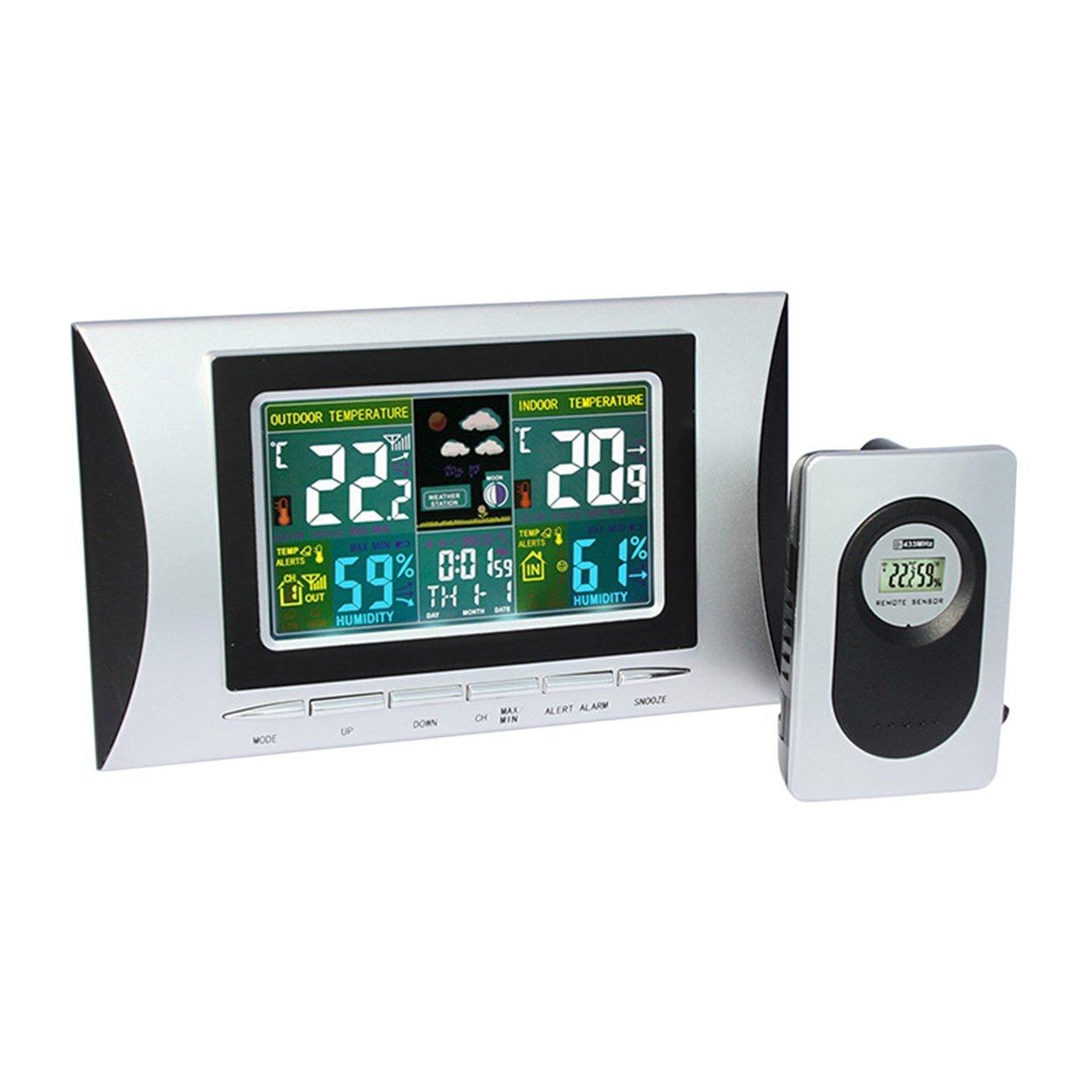 Dailyinshop H102G Wireless Bunte LCD Display Digital Wecker Wetterstation (Farbe: Silbrig und Schwarz)