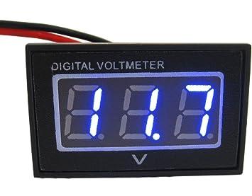 Yeeco Blaue LED 2 Drähte Digital Voltmeter DC 3.0-30V Volt Panel ...