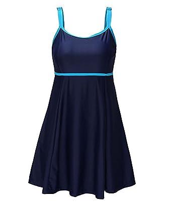 Tailloday Damen Plus Size Push Up Bademode Badeanzug Badebekleidung mit Röckchen  Badekleid  Amazon.de  Bekleidung 11ccdbd7ed